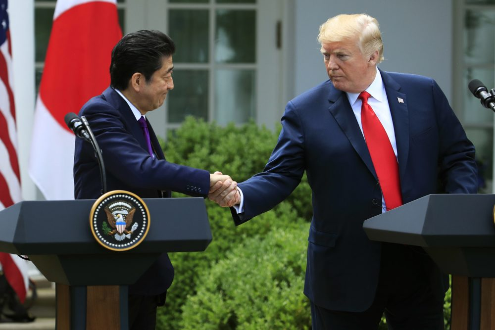 President Donald Trump and Japanese Prime Minister Shinzo Abe shake hands during a news conference in the Rose Garden at the White House in Washington, Thursday, June 7, 2018. (Manuel Balce Ceneta/AP)