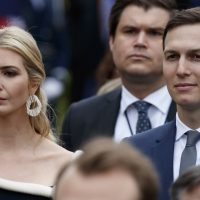 White House senior adviser Jared Kushner, and his wife Ivanka Trump, the daughter of President Donald Trump, attend a State Arrival Ceremony on the South Lawn of the White House in Washington, Tuesday, April 24, 2018, in honor of French President Emmanuel Macron and his wife Brigitte Macron. (Carolyn Kaster/AP)