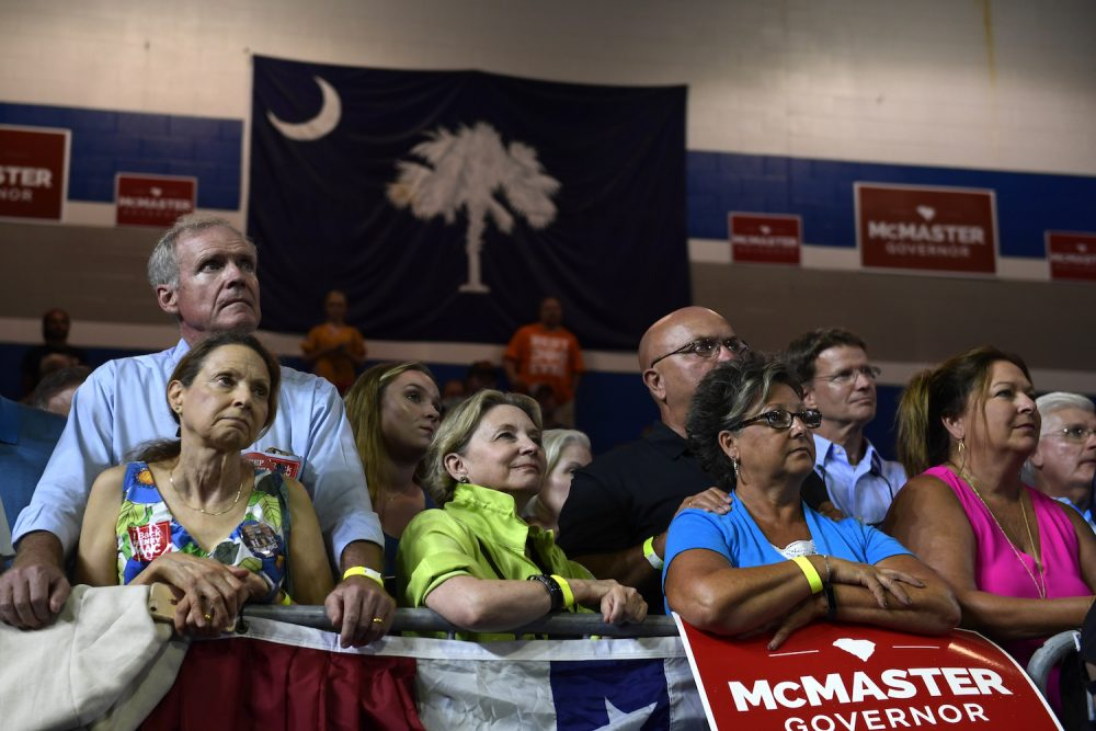 President Donald Trump speaks during a rally at Airport High School in West Columbia, S.C., Monday, June 25, 2018. Trump is campaigning for Republican Gov. Henry McMaster, returning the favor after McMaster provided Trump with an early endorsement in his presidential campaign. (Susan Walsh/AP)