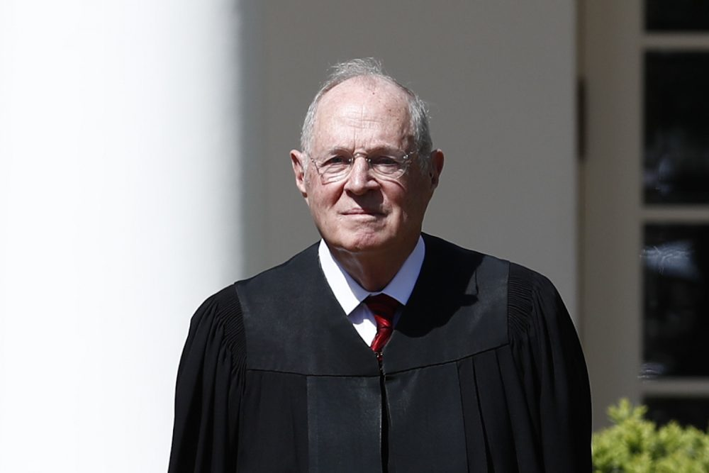 Supreme Court Justice Anthony Kennedy participates in a public swearing-in ceremony for Neil Gorsuch in the Rose Garden of the White House White House in Washington, Monday, April 10, 2017. (Carolyn Kaster/AP)