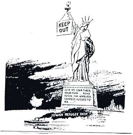 A cartoon from the New York Daily Mirror on June 6, 1939 when the U.S. refused entry to a Jewish refugee ship.