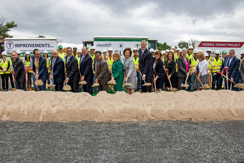 Gov. Charlie Baker and other officials mark the groundbreaking of the Green Line Extension, on Monday in Somerville. (Courtesy of Rachel Mandelbaum for the Office of the Governor)