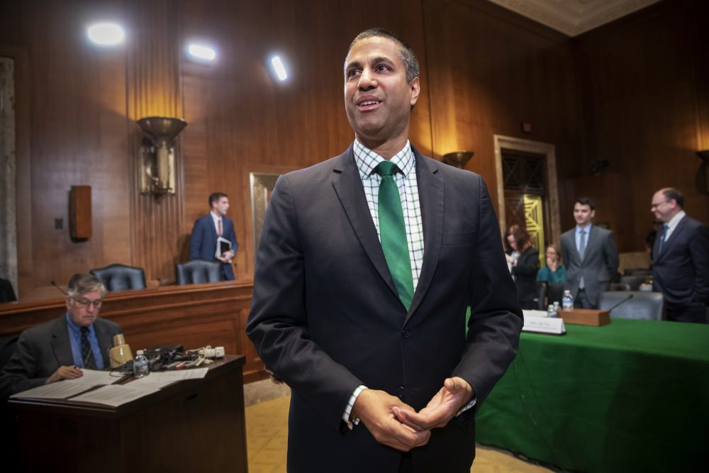 Ajit Pai, chairman Federal Communications Commission, prepares to testify about his budget before a Senate Appropriations subcommittee on Capitol Hill in Washington, Thursday, May 17, 2018. (J. Scott Applewhite/AP)
