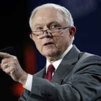 U.S. Attorney General Jeff Sessions makes a point during his speech at the Western Conservative Summit on June 8 in Denver. (David Zalubowski/AP)