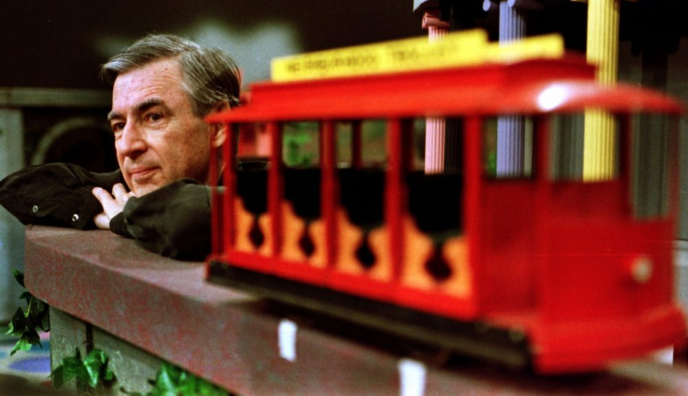 "Fred Rogers pauses during a May 27, 1993 taping of his show "" Mister Rogers' Neighborhood,"" in Pittsburgh. (Gene J. Puskar/AP)"
