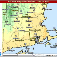 Readings will approach 80 in Boston this afternoon. (Courtesy NOAA)