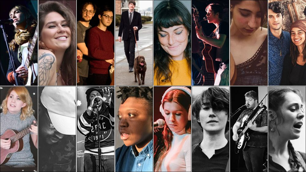 The 16 finalists for WBUR's Wicked Good Music contest. (Courtesy of the artists)