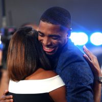 Mikal Bridges hugs his mom, Tyneeha Rivers, after being drafted tenth  by the Philadelphia 76ers, for which Rivers works. Bridges was then traded to Phoenix. (Mike Stobe/Getty Images)