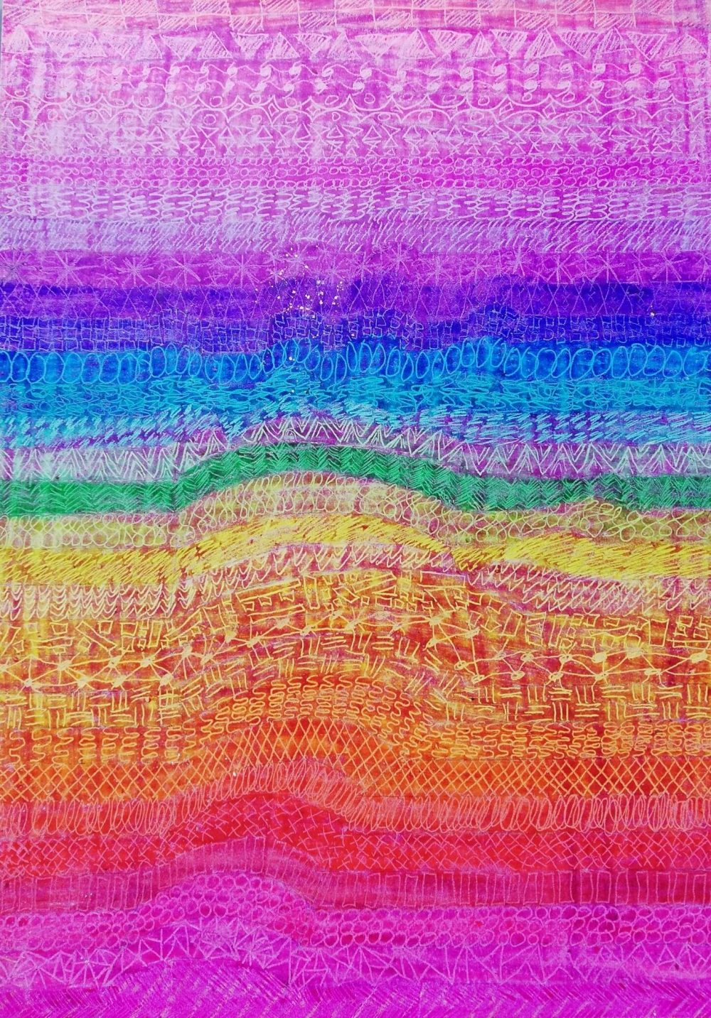 "Rainbow 3D hand, crayon, 8 x 11"" by u/TheRainbowFairy"