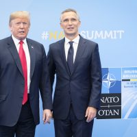 President Trump is welcomed by NATO Secretary General Jens Stoltenberg as he arrived for the NATO summit at the NATO headquarters in Brussels, on July 11, 2018. (Sébastien Pirlet/AFP/Getty Images)