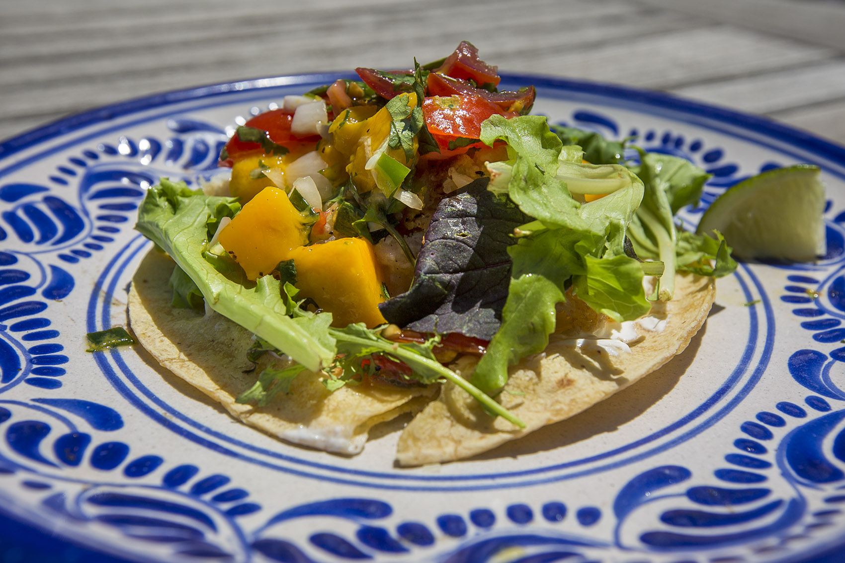Fish tacos with mango salsa and lime cream. (Jesse Costa/WBUR)