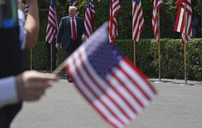 "President Trump arrives for a ""Celebration of America"" event on the South Lawn of the White House in Washington, Tuesday, June 5, 2018. (Susan Walsh/AP)"