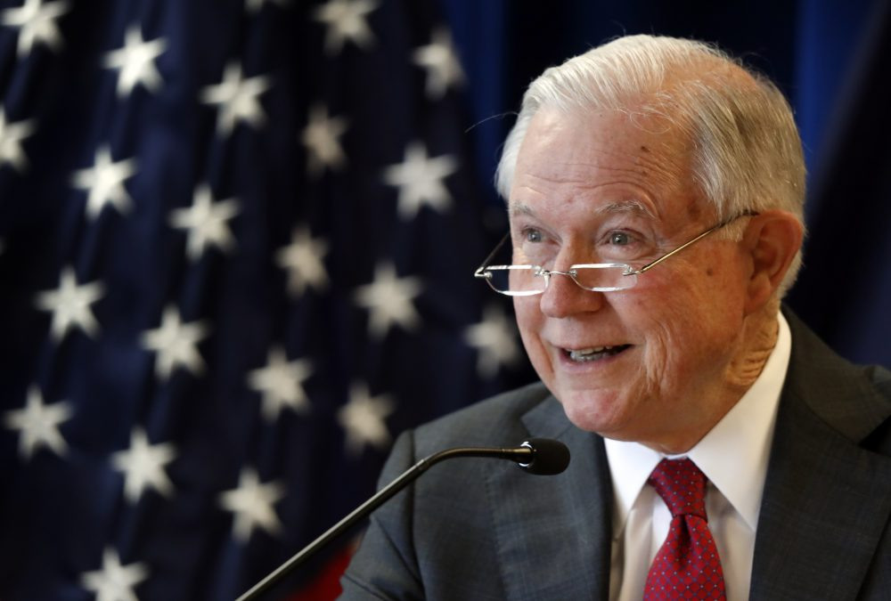"Attorney General Jeff Sessions -- pictured here on July 13, 2018 -- laughed off and repeated a ""Lock Her Up"" chant at a speech at a high school leadership summit on Tuesday, July 24 in Washington, D.C. (Robert F. Bukaty/AP)"