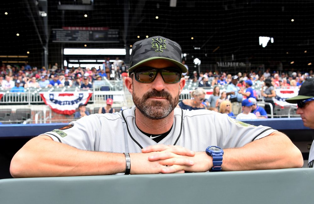 Mets manager Mickey Callaway joined his team in wearing black wristbands on Memorial Day to honor fallen soldiers. (Scott Cunningham/Getty Images)