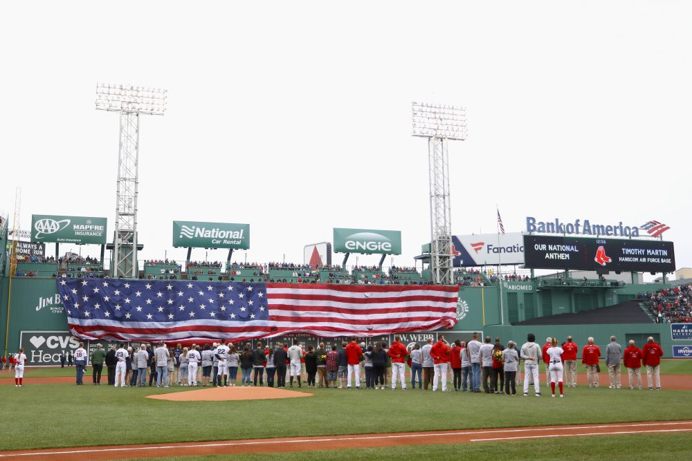This Memorial Day, the Red Sox unfurled an American flag over the Green Monster. (Omar Rawlings/Getty Images)