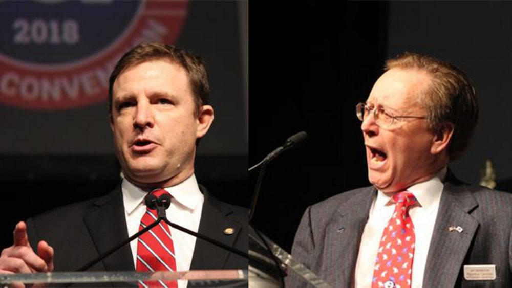 Dan Shores (left) and Jay McMahon (right) are facing off in the Republican primary for Massachusetts Attorney General. (State House News)