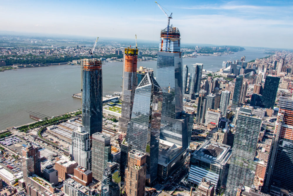 An aerial view of Hudson Yards construction in May 2018. (Courtesy of Related-Oxford)