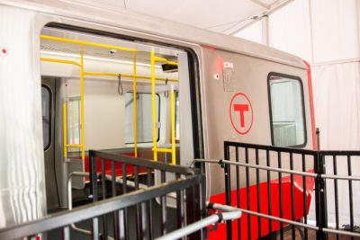 A mock-up of the future Red Line T cars that will begin replacing old train cars in 2019. (Courtesy Gov. Charlie Baker via Twitter)