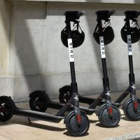 Electric scooters, like these ones pictured in France from the U.S. startup Bird, are a common sight in downtown Austin, Texas. (Eric Piermont/AFP/Getty Images)