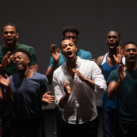 "The cast of A.R.T.'s ""Black Clown"" in rehearsal. (Courtesy Maggie Hall/American Repertory Theater)"