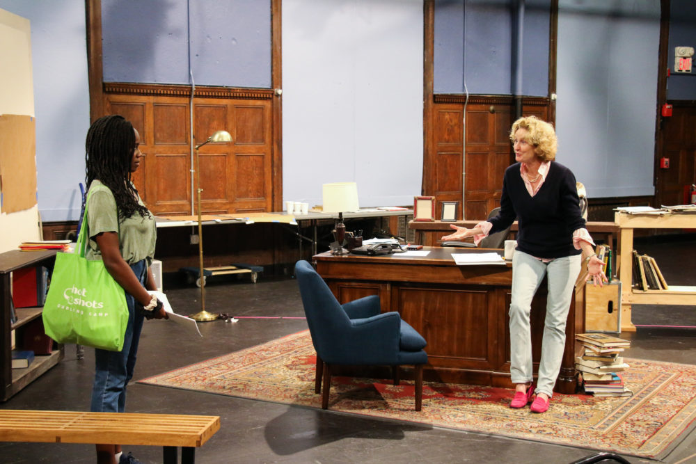 "Jordan Boatman and Lisa Banes rehearse for ""The Niceties."" (Courtesy Huntington Theatre Company)"