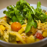 Harvest linguine with roasted tomatoes, zucchini and arugula. (Jesse Costa/WBUR)