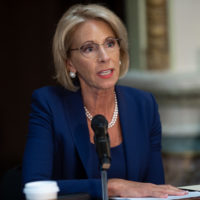 U.S. Secretary of Education Betsy DeVos speaks during the fifth meeting of the Federal Commission on School Safety in the Eisenhower Executive Office Building, adjacent to the White House in Washington, D.C., Aug. 16, 2018. (Saul Loeb/AFP/Getty Images)