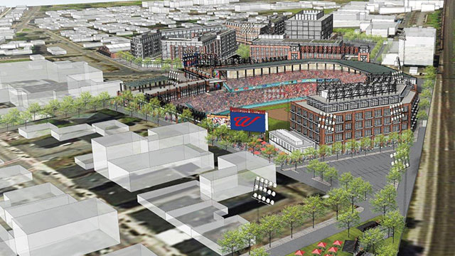 The ballpark rendering shows an aerial view of Worcester's Canal District. The ballpark itself has not been designed yet. (Courtesy of the PawSox)