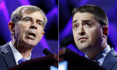 Massachusetts Secretary of State Bill Galvin, left, and his Democratic challenger, Boston City Councilor Josh Zakim (Michael Dwyer/AP)