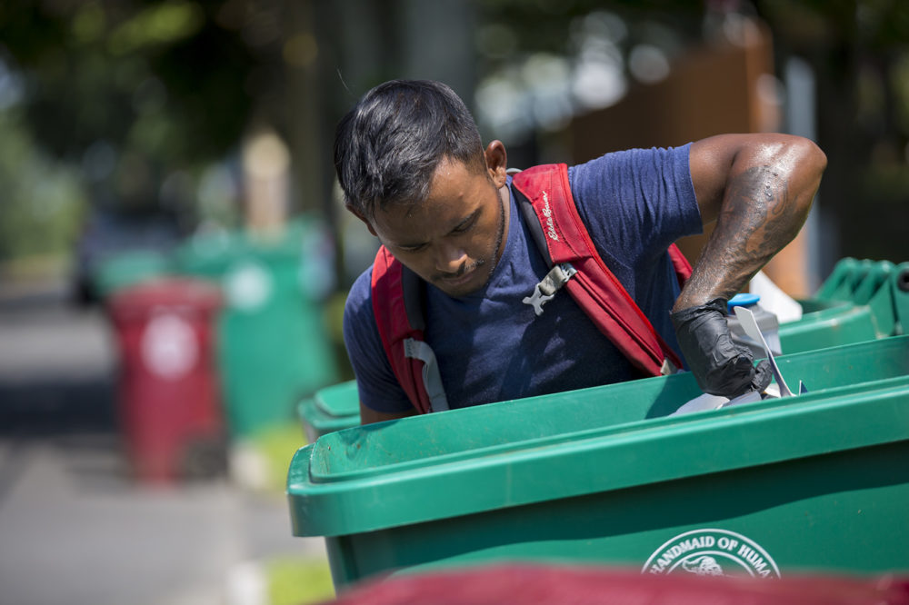 Lowell recycling enforcement coordinator Bora Chhun checks a recycling bin for non-recyclable items on Beacon Street in Lowell. (Jesse Costa/WBUR)