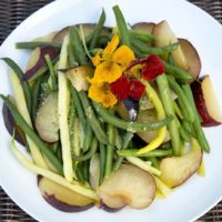 Gingered green bean and plum salad, from chef Kathy Gunst. (Robin Lubbock/WBUR)