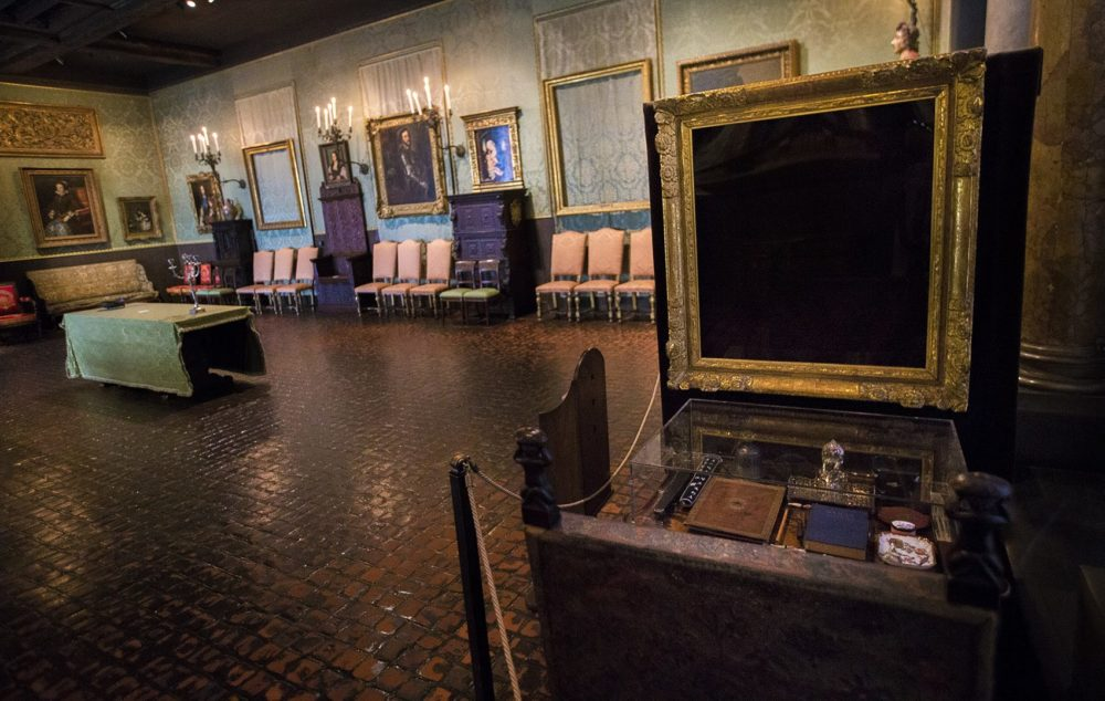 The Isabella Stewart Gardner Museum's Dutch Room, where thieves stole three Rembrandts, a Vermeer, a painting by Govaert Flinck and an ancient Chinese beaker. (Jesse Costa/WBUR)