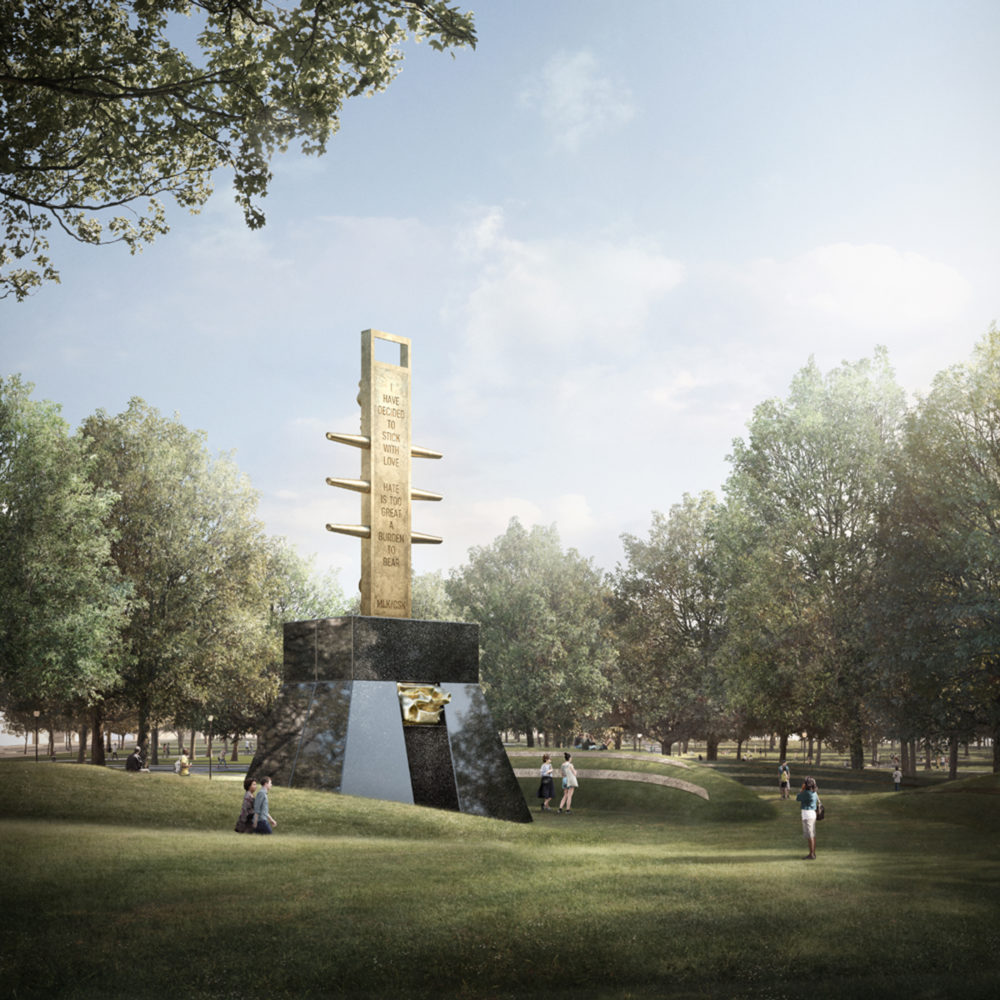 A rendering of Barbara Chase-Riboud's proposed memorial (Courtesy MLK Boston)