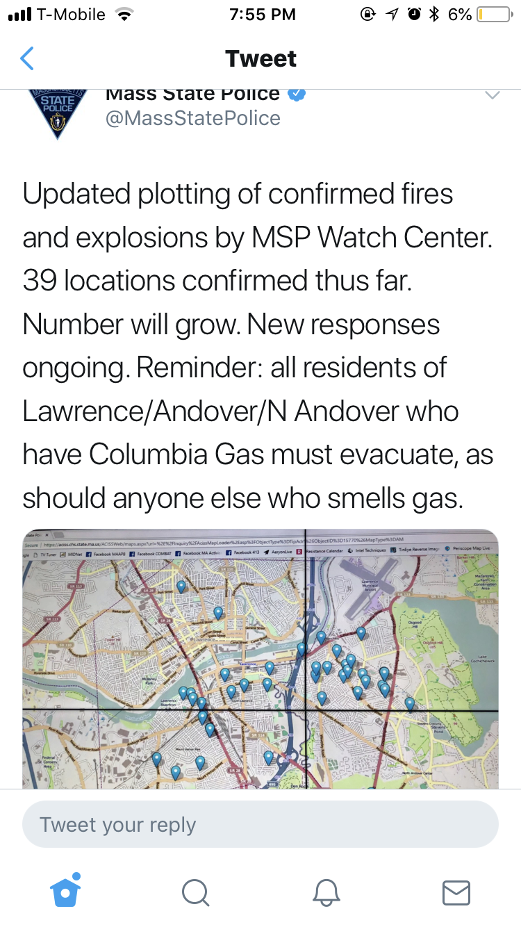 A screenshot of a now-deleted tweet from Mass. State Police, depicting confirmed fires and explosions in the Lawrence/Andover/North Andover area.
