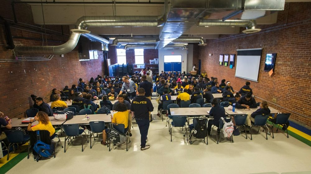 The largest room at Roxbury Prep High School's Maywood Street campus, at lunchtime. It can only fit half of a single class of students at a time. (Jesse Costa/WBUR)