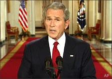 President Bush speaks in a televised address from the White House on Wednesday night. (AP)