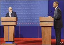 Sen. John McCain and Sen. Barack Obama face off at a presidential debate at the University of Mississippi in Oxford, Miss. (AP)