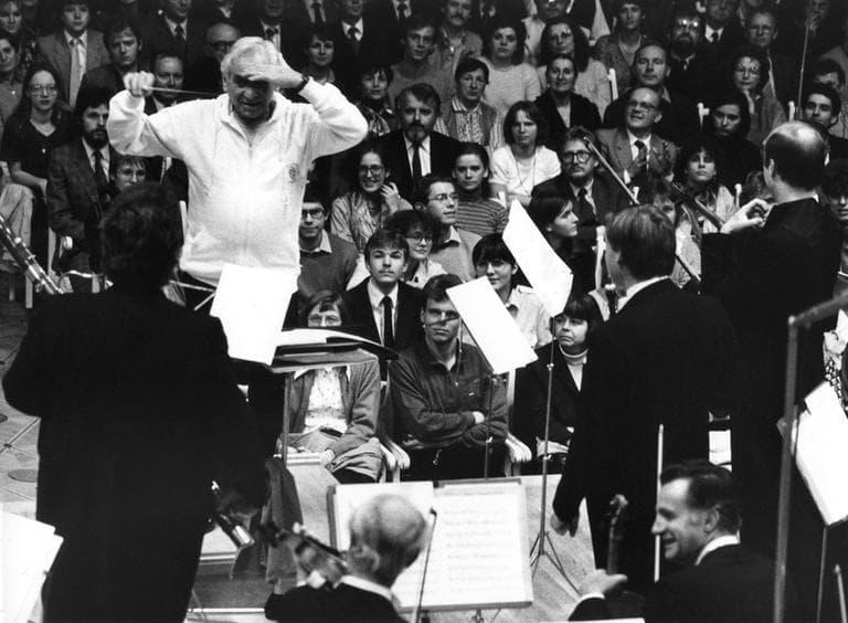 Conductor Leonard Bernstein in Austria, October 26, 1984. (AP)