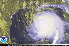 NOAA image of hurricane Ike taken on September 11, 2008 at 1:45 pm ET