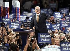Republican presidential nominee, John McCain, at the end of his acceptance speech to the Party's convention last night. (AP Photo)