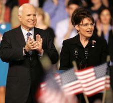 Republican presidential candidate, Sen. John McCain, and his vice-presidential running mate Alaska Gov Sarah Palin on Friday, Aug. 29, 2008 in Dayton, Ohio. (AP Photo/Mary Altaffer)
