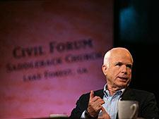 Republican presidential candidate, Sen. John McCain, R-Ariz., participates in the Compassion Forum with pastor Rick Warren, not in photo, at the Saddleback Church, Saturday, Aug. 16, 2008 in Lake Forest, Calif. (AP Photo/Mary Altaffer)