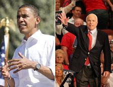 Barack Obama and John McCain on their campaign trails on September 15, 2008.