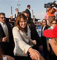 Alaska Gov. Sarah Palin shakes hands with supporters at the conclusion of a campaign unity rally in O'Fallon, Mo., Sunday, Aug. 31, 2008. (AP Photo/Stephan Savoia)