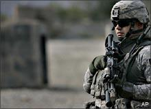 A U.S. soldier patrols outside a Forward Operating Base near the Pakistani border in Kunar province, eastern Afghanistan, on Monday, Oct. 27, 2008. (AP)