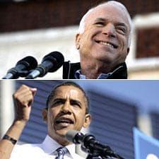 John McCain in Defiance, Ohio, Oct. 30, 2008. (AP Photo/Carolyn Kaster) Barack Obama in Des Moines, Iowa, Oct. 31, 2008. (AP Photo/Jae C. Hong)