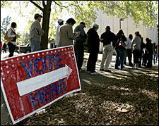 Voters stand in line to cast their ballots early at the Fulton County Annex in Sandy Springs, Georgia, on Thursday, Oct. 30, 2008. (AP)