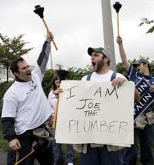 Supporters of Sen. John McCain, dressed as Joe the Plumber, near a rally for Sen. Barack Obama in Roanoke, Va.., Oct. 17, 2008. (AP)