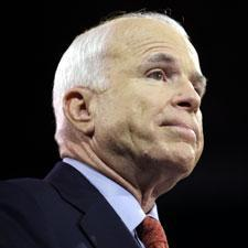 Republican presidential candidate John McCain pauses as he speaks at a rally at Montgomery County Community College in Blue Bell, Pa., Tuesday, Oct. 14, 2008. (AP Photo/Carolyn Kaster)