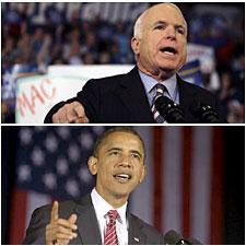 Top: John McCain in Hershey, Pennsylvania, Oct. 28, 2008. (AP) Bottom: Barack Obama in Canton, Ohio, Oct. 27, 2008.